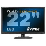 Iiyama ProLite E2274HDS-2 21.5 inch LED Backlit LCD Monitor 1000:1 250cd/m2 1920 x1080 2ms D-Sub/DVI